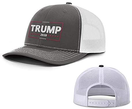 D&J East Trump 2020 Back Mesh Trucker Hat, Unisex, Charcoal-White: Clothing