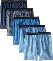 Hanes Men's 5-Pack Printed Woven Exposed Waistband Boxers (Assorted) at Men's Clothing store