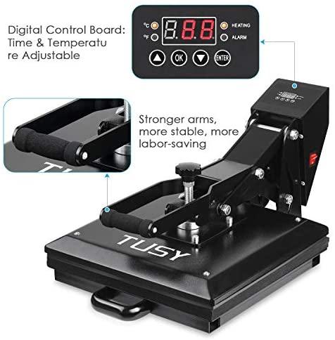 TUSY Heat Press Machine 15x15 inch Digital Industrial Quality Printing Press Heat Transfer Machine for T-Shirt: Arts, Crafts & Sewing