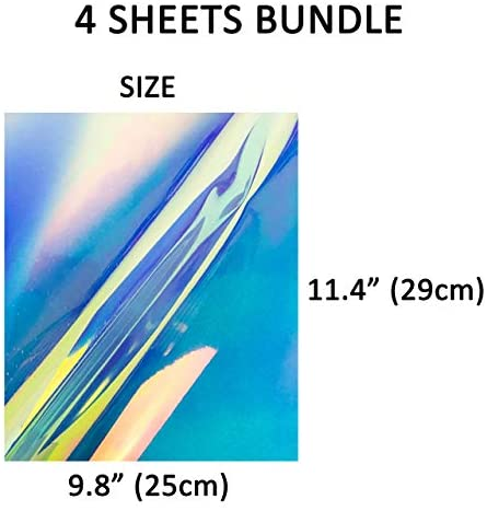 "Stardust Co.'s Holographic and Reflective Heat Transfer Vinyl, HTVvinyl, Iron on Vinyl, Holographic Vinyl 11.4""X9.8"" Bundle of 4, Super Easy To Weed, Safe Around Children, CPSIA Certified"