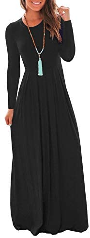 VIISHOW Women's Long Sleeve Loose Plain Maxi Dresses Casual Long Dresses with Pockets at Women's Clothing store