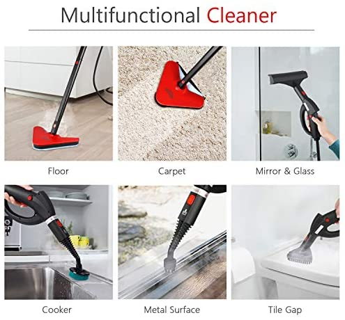 SIMBR Steam Cleaner, Multipurpose Steam Mop with 18 Accessories, 1500W 1.5L Chemical-Free Household Steamer Cleaning for Floors, Carpet, Windows, Autos and More