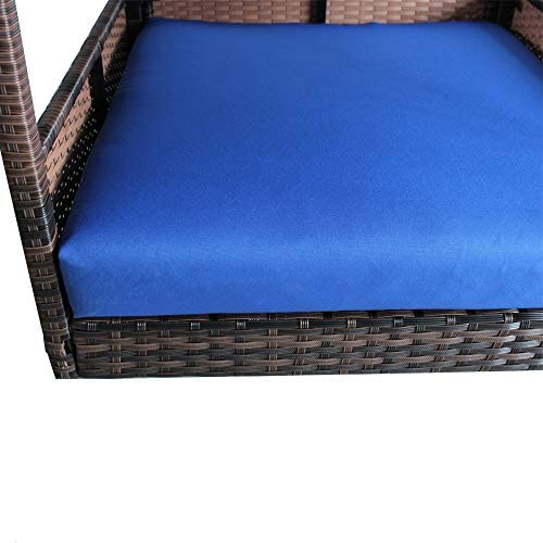 Leaptime Pet Playpens Brown PE Wicker with Cushion Outdoor Indoor Use for Small Animals Royal Blue : Pet Supplies