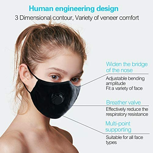 Anti Air Pollution Smoke Mask - Dust Mask - Reusable Face Mask, Adjustable PM2.5 Air Filter Mask, Activated Carbon Dustproof Sport Mask for Outdoor(1 Mask+6 Filters) (Red)