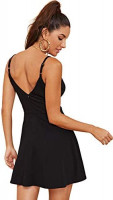 SheIn Women's V Neck Spaghetti Straps Sleeveless Sexy Backless Wrap Flare Dress at Women's Clothing store