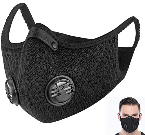 ADESUGATA Anti Pollution Sports Mask(Activated Carbon Air Filters and 2 Valves Included) + Level 3 Respirator Masks(Soft & Comfortable Filter Safety Face Mask) for Dust Protection