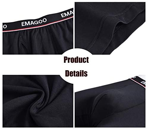 EMAGOO Boxer Briefs Mens Packs Long Leg Underwear Bamboo Boxer Briefs Black Comfortable: Clothing