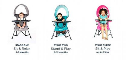 Baby Delight Go with Me Chair | Indoor/Outdoor Chair with Sun Canopy | Gray | Portable Chair converts to 3 Child Growth Stages: Sitting, Standing and Big Kid | 3 Months to 75 lbs | Weather Resistant : Baby