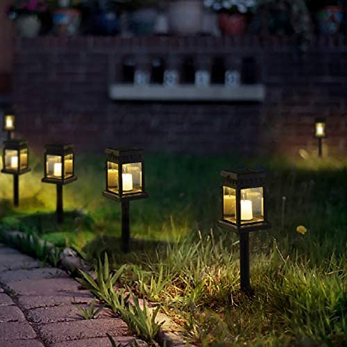 GIGALUMI 8 Pack Solar Hanging Lantern Outdoor, Candle Effect Light with Stake for Garden, Patio, Lawn, Deck, Umbrella, Tent, Tree, Yard, Driveway-Warm White