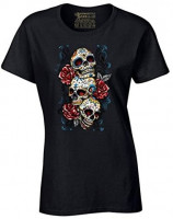 Women's Sugar Skulls and Roses T-Shirt Day of The Dead Shirt: Clothing