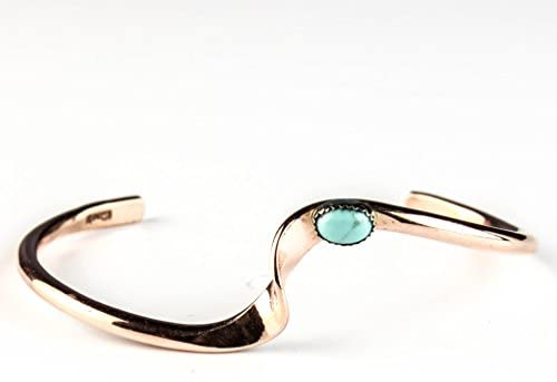 Tskies Copper Bracelet for Women Authentic Inlaid Turquoise Stone Native American Made Jewelry: Clothing