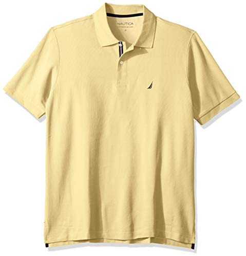 Nautica Men's Big and Tall Classic Fit Short Sleeve Solid Performance Deck Polo Shirt: Clothing