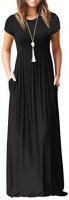 GRECERELLE Women's Short Sleeve Loose Plain Maxi Dresses Casual Long Dresses with Pockets at Women's Clothing store
