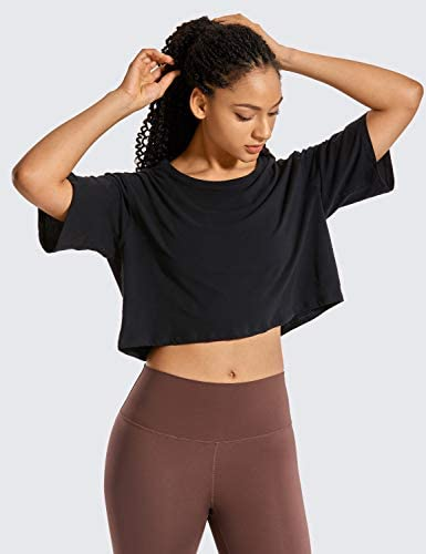 CRZ YOGA Women's Pima Cotton Workout Crop Tops Short Sleeve Running T-Shirts Casual Athletic Tees at Women's Clothing store