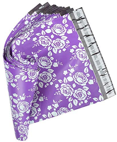 Metronic 10x13 Inch 100 Pack Rose Shipping Bags Envelopes Self Adhesive Poly Mailers in Purple Printed Rose Design with Waterproof and Tearproof Postal Mailing Bags : Office Products