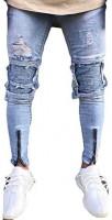 allshope Men's Casual Slim Fit Denim Jeans Ripped Skinny Distressed Destroyed Straight Denim Pants at Men's Clothing store