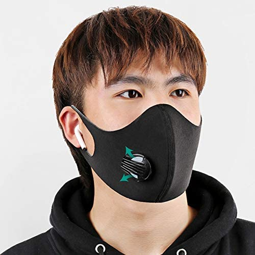 5pcs Reusable Washable Face Respirator with Filters Breather Valve for Adults, Dustproof Máscara Windproof PM2.5 Foggy Haze Pollution Coronávirùs Virüs Flü Germ Protection 口罩 (5, Black)