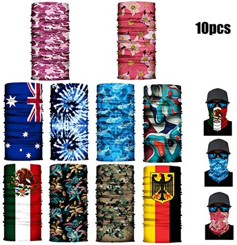 10 Pack Of Sun UV Dust Protection Windproof Bandana Face Mask Neck Gaiter Magic Scarf Balaclava Face Cover Scarf (Color#A) at Men's Clothing store