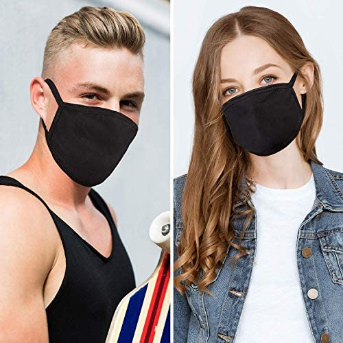 3 Pack Cotton Mouth Mask Anti Dust Mouth Mask, UNIME Unisex Black Face Mask Reusable Fashion Mask Anime Face Mask Washable Mask Reusable Mask for Cycling Camping Travel for Adults Men Women