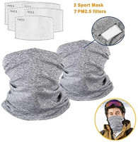 Face Cover Neck Gaiter Windproof Scarf Sunscreen Breathable Bandana Balaclava for Outdoors/Festivals/Sports, Multi-Purpose Face Cover with Pads Grey at Women's Clothing store