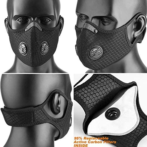FLAE Dust_Mask Reusable Face_Mask with Activated Carbon Filters Respirators_Mask for Working Protection, Traveling, Pollen Allergy, Painting Construction, Outdoor Activities and Sports: Sports & Outdoors