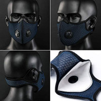 Lisontops Dust Mask with Filter, Sports Face Mask, Has 4 Filters Men's and Women's, Half Face Mask Reusable Activated Carbon Dustproof Respirator Mask Respirator, Mountain Bike Riding (Blue) : Sports & Outdoors