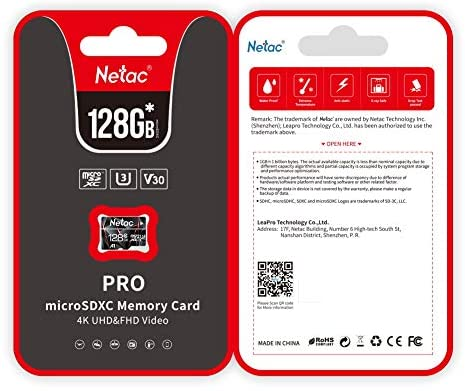 128GB Micro SD Card, Netac Memory Card MicroSD High Speed Transfer A1 C10 U3 MicroSDXC TF Card for Cemera/Phone/Nintendo-Switch/Galaxy/Drone/Dash Cam/GOPRO/Tablet/PC/Computer with Adapter: Computers & Accessories