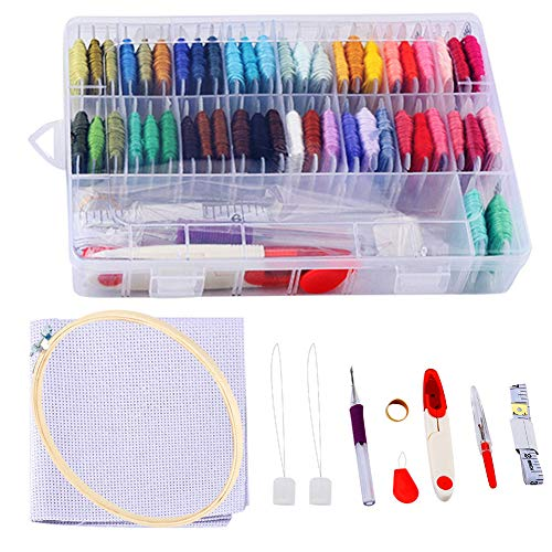 Yinuoday Embroidery Starter Kit with 50 Color Threads, Cross Stitch Tool Kit Sewing Pins, Aida Cloth, Embroidery Hoops Full Range of Hand Embroidery Kit for Adults and Kids Beginners: : Grocery & Gourmet Food