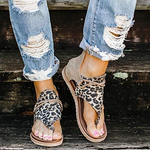 succeedtop Women Super Posh Gladiator Comfy Sandals, Ladies Fashion Leopard/Zebra/Snake Pattern Flat Heel Slip On Sandals with Zipper (8, C): Garden & Outdoor