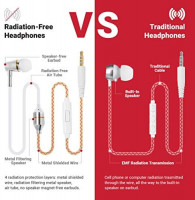 EMFProtector Anti-Radiation Air Tube Headphones for 99% EMF Reduction, Safe, Radiation-Free Earbuds with Microphone, Cell Phone Protection, Carry Case Included for iPhone & Other Devices: Home Audio & Theater