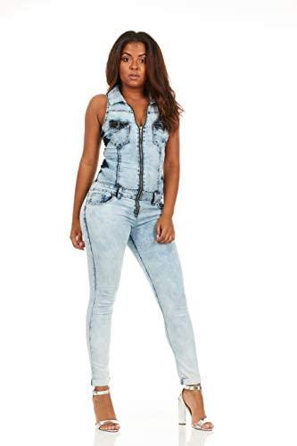Cover Girl Women's Denim Biker Skinny Long Jumpsuit Overalls Sexy Zip Up Sleeveless: Clothing