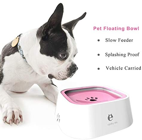 Pet Supplies : UPSKY Dog Water Bowl No-Spill Pet Water Bowl Slow Water Feeder Dog Bowl No-Slip Pet Water Dispenser 35oz Feeder Bowl for Dogs and Cats, Pink
