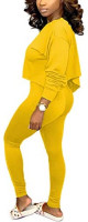 Nimsruc Womens Sexy Club 2 Piece Outfits Long Sleeve Hot 2 Pcs Skew Neck Pants Set at Women's Clothing store