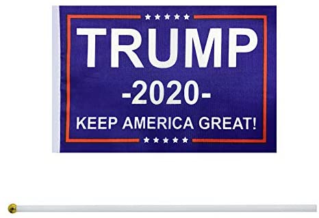 TSMD 50 Pack Donald Trump Flag for President 2020 Keep America Great Flag Small Mini Hand Held Stick Flags Banner Make America Great for Party Decorations, Parades, Election Day Celebration Event : Garden & Outdoor