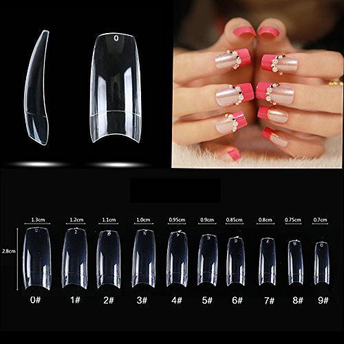 500pcs French Acrylic False Artificial Nail Art Tips Half Cover Fake Nail Tips for Lady 10 design with bag (Clear): Beauty
