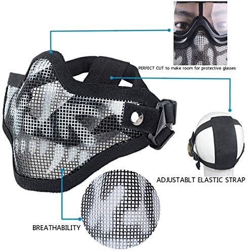 Infityle Airsoft Masks- Adjustable Half Metal Steel Mesh Face Mask and UV400 Goggles Set for Hunting, Paintball, Shooting (Black+Black, 2 Set) : Sports & Outdoors