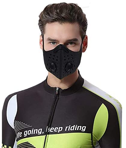 YYGIFT Fitness Dust Mask with Earloop Adjustable HOOK&LOOP and Activated Carbon Filter for Breathing Clean Air Excellent for Cycling, Running and other Outdoor Activities