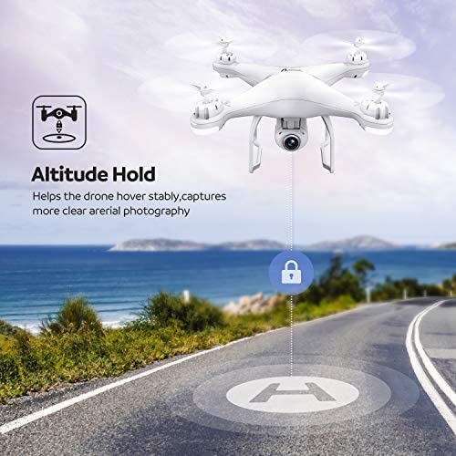 Potensic T25 GPS Drone, FPV RC Drone with Camera 1080P HD WiFi Live Video, Dual GPS Return Home, Quadcopter with Adjustable Wide-Angle Camera- Follow Me, Altitude Hold, Long Control Range, White: Toys & Games