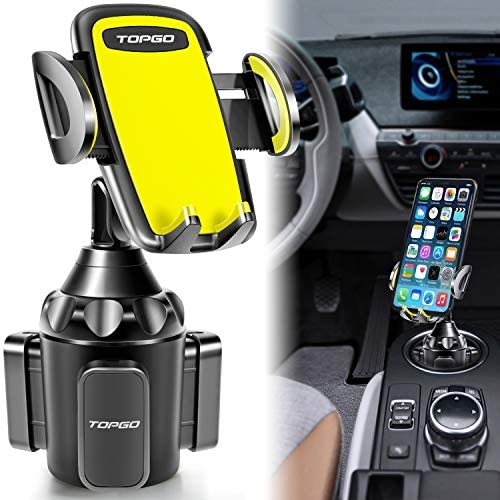 [Upgraded] TOPGO Universal Adjustable Cup Holder Cradle Car Mount for Cell Phone iPhone Xs/XS Max/X/8/7 Plus/Galaxy (Blue)