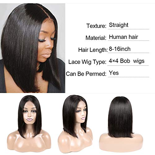 Getarme Lace Front Bob Wigs with Baby Hair Brazilian Short Straight Human Hair Wigs For Black Women 8 Inch : Beauty