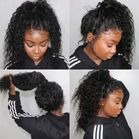 Maxine Hair 360 Lace Frontal Wig Human Hair with Adjustable Strap Water Wave Brazilian Remy Lace Wigs for Black Women Natural Hairline 150% Density 12 inches : Beauty