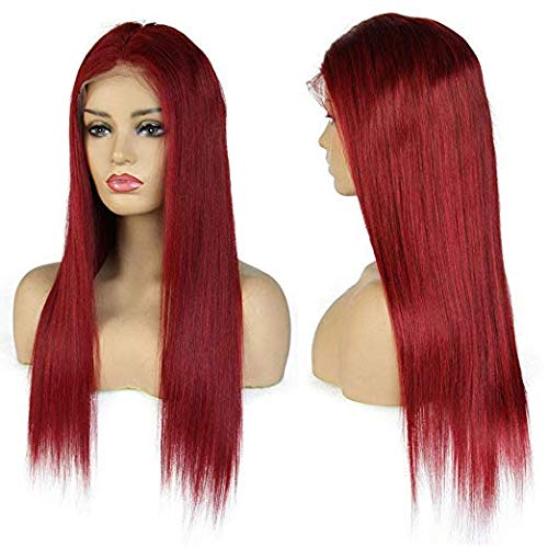 Wicca Hair Red Color Natural Looking Lace Front Wigs for Fashion Women Long Straight 130% Density Brazilian Remy Human Hair Glueless Pre Plucked Full Lace Wig with Baby Hair (20 Inch, Lace Front Wig) : Beauty