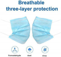 LEMSIR 50 Pieces - Breathable three Layer - Anti Dust - Disposable - Blue: Beauty