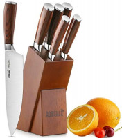 Knife Set, 6-Piece Kitchen Knife Set with Wooden Block Germany High Carbon Stainless Steel Knife Block Set, Chef Knife Set Boxed Knife Set by ROMEKER: Kitchen & Dining