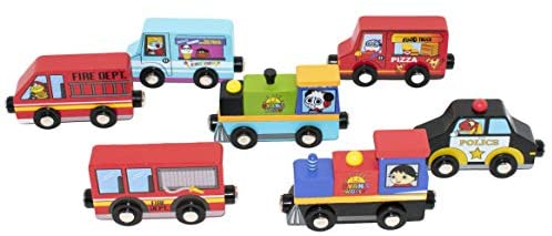 KIDS PREFERRED Ryan's World 7 Piece Wooden Vehicle Set and Accessories: Toys & Games