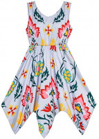 Sunny Fashion Girls Dress Flower Print Hanky Hem with Necklace: Clothing