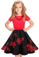 Tao-Ge LEEGEEL Girls Vintage Dress Polka Dot Swing Rockabilly Dresses with Necklace Size 6-12 Girls Dresses: Clothing