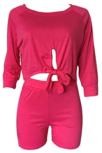 VKVKA Womens Two Piece Shorts Colorblock Tie Dye Print Short Sleeve T Shirt Bodycon Pants Sets at Women's Clothing store