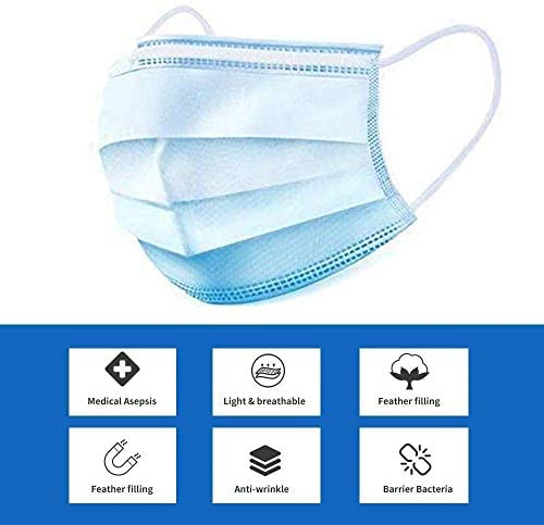 50 Pcs Disposable Medical Face 𝐌𝐀𝐒𝐊 - Anti-Dust Filter, Breathable,Protection and Personal Health Professional, 3 Layers of Purifying, Cotton: Health & Personal Care