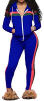 TOP-MAX Women's Sweatsuits, Velour Stripe Jogging Zipped Hoodie - Fashion Sport Suit, Hoodie and Pants Sports Tracksuits at Women's Clothing store